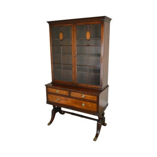 Schmieg & Kotzian Mahogany & Burl Wood Duncan Phyfe Style China Cabinet Bookcase For Sale