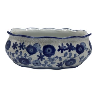 Blue and White Cachepot Planter With Floral Motif For Sale
