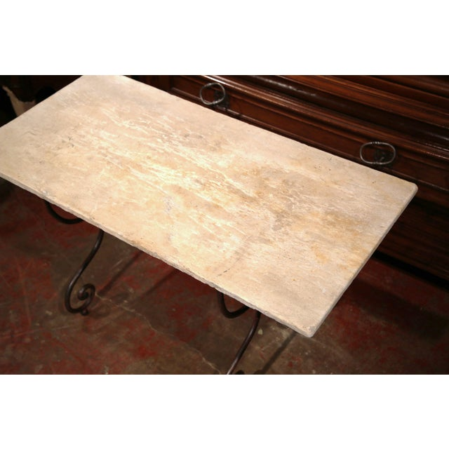 Late 19th Century 19th Century French Iron Bistrot Table With Stone Top and Bronze Mounts For Sale - Image 5 of 8