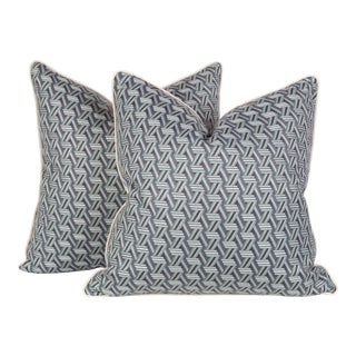 Blue and Cream Woven Geometric Pillows, a Pair For Sale