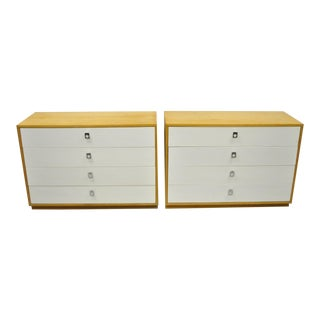 Mid 20th Century Founders Jack Cartwright White Mid Century Modern Birch Wood Chest Dressers - a Pair For Sale