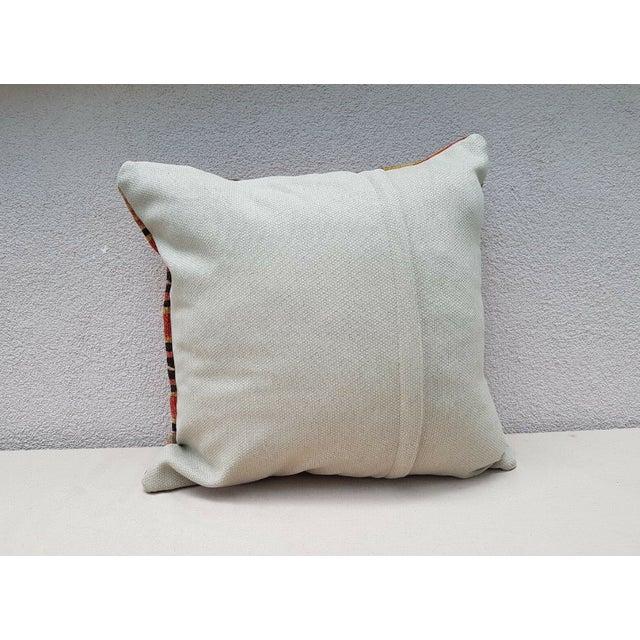 Orange Vintage Turkish Kilim Pillow For Sale - Image 8 of 9