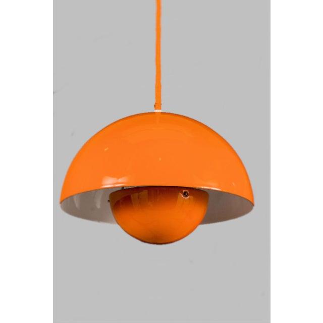 Louis Poulsen Mid-Century Modern Verner Panton Enamel Flowerpot Pendant Lights for Louis Poulsen, Denmark - a Pair For Sale - Image 4 of 5