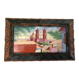 1930s Spanish Colonial Rancho Style Framed Painted Mexican Tiles For Sale