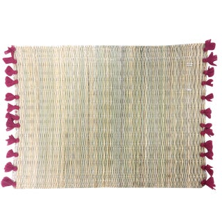 Lola Placemat With Tassel, Set of 2 Burgundy Red For Sale