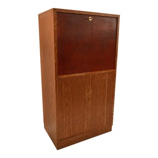 Art Deco Secretary in Oak with Door Covered in Core-Leather by Charles Dudouyt