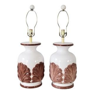 Italian Coastal / Hollywood Regency Style Ceramic Table Lamps a Pair . For Sale