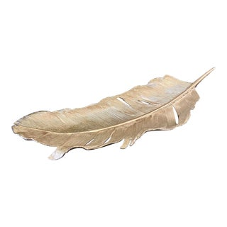 Michael Aram Silver Feather Tray For Sale