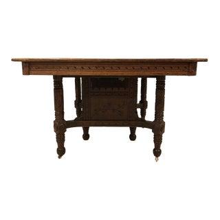 Antique Eastlake Victorian Solid Oak Extending Dining Table For Sale