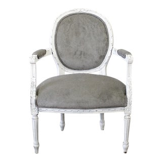 Early 20h Century Carved and Painted French Louis XVI Style Open Arm Chair For Sale