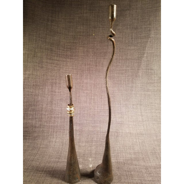 Mid-Century Modern Brutalist Wrought Iron Candle Holders - A Pair - Image 8 of 8