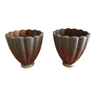 Metal Clad Carved Wooden Planters With Scalloped Edges - a Pair For Sale
