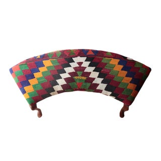 Vintage Kilim Covered Ottoman For Sale