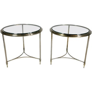 Pair of Modern Chrome End Tables For Sale