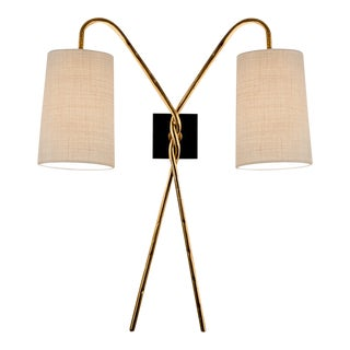 Twist Antique Gold Leaf Wall Light For Sale