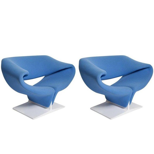 Vintage Pair of Ribbon Chairs by Pierre Paulin, Model F582 for Artifort For Sale - Image 11 of 11