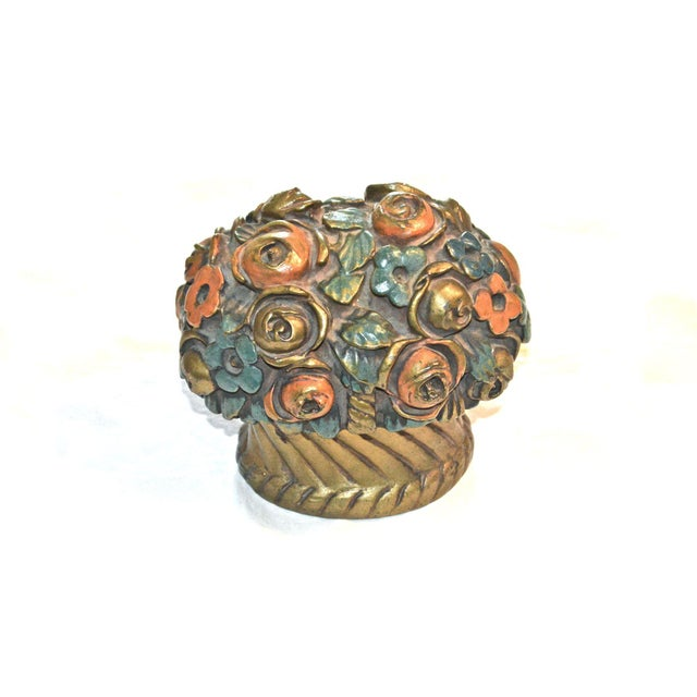 1920s French Barbotine Flower Bouquet Doorstop For Sale - Image 10 of 10