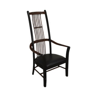 Black Rattan High Back Arm Chair by Hammary For Sale