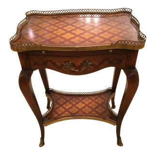 Theodore Alexander Two Tier Inlaid Side Table For Sale