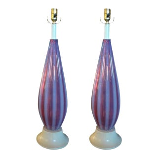 Italian Opalescent Murano Glass Lamps Attributed to Seguso-Pair For Sale