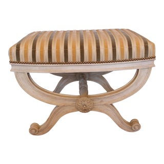 D'Orsay Striped Velvet Covered Benches - A Pair