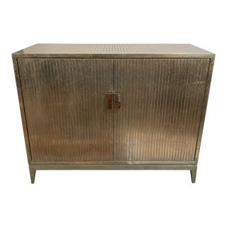 Brownstone Treviso German Silver Ribbed Cabinet For Sale