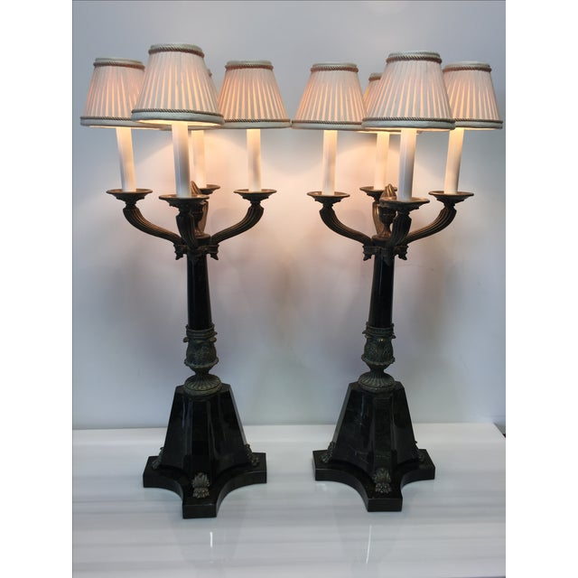 Bronze & Green Marble Candelabra Lamps - Pair - Image 2 of 8