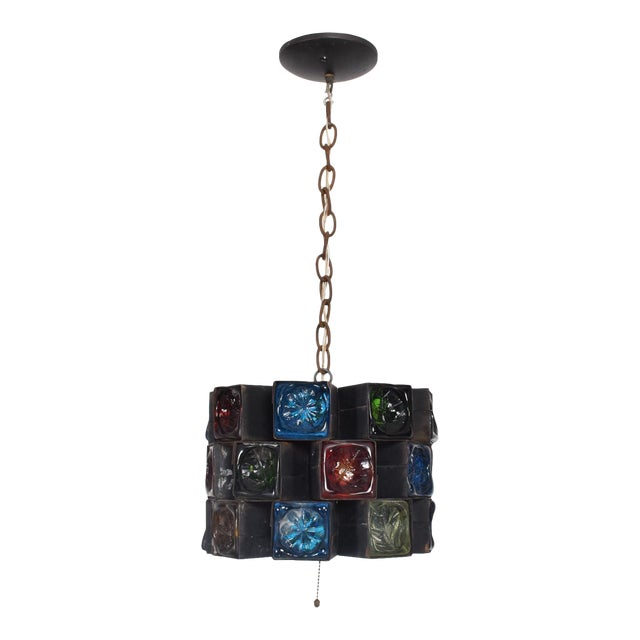 Feders Pendant Ceiling Fixture Handblown Glass and Steel Brutalist Chandelier - Image 1 of 8
