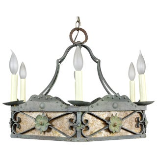 Arts & Crafts Wrought Iron and Mica Chandelier For Sale