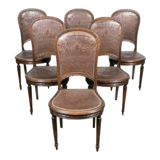 Late 19th Century Vintage French Louis XVI Tooled Leather Dining Chairs - Set of 6 For Sale