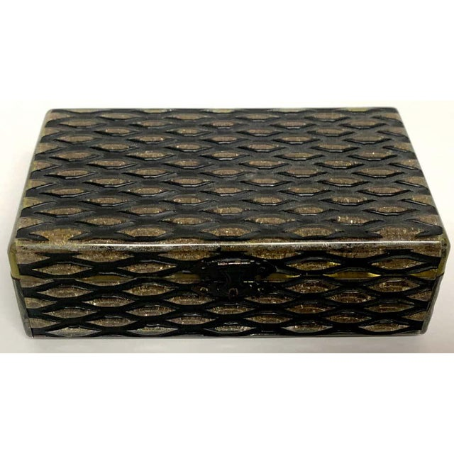 Plastic French Art Deco Herringbone Celluloid Box For Sale - Image 7 of 13