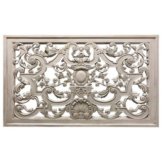 Neoclassic Swedish Gray Painted Carved Wood Architectural Panel For Sale