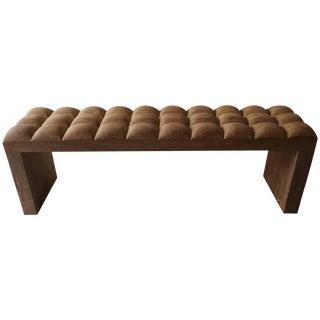 21st Century Contemporary Pillow Teak Bench For Sale