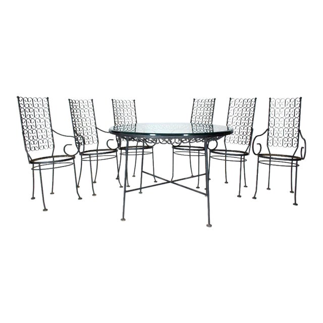 1970s Mid-Century Modern Outdoor Dining Set - 7 Pieces For Sale