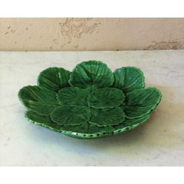Green Majolica plate or small platter with leaves circa 1950 from Portugal.