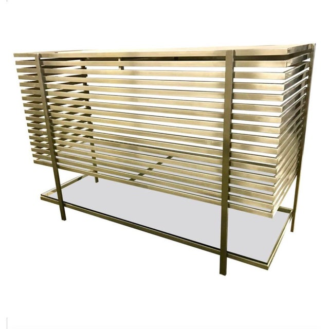Mid-Century Modern Style Laser Cut Steel, Glass and Chrome Dry Bar For Sale - Image 13 of 13