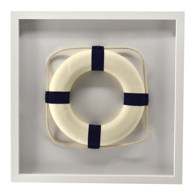 Framed Blue & White Life Ring For Sale