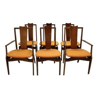 Set of 6 Mid-Century Danish Modern Kagan Style Walnut Sculptural Floating Seat Dining Chairs