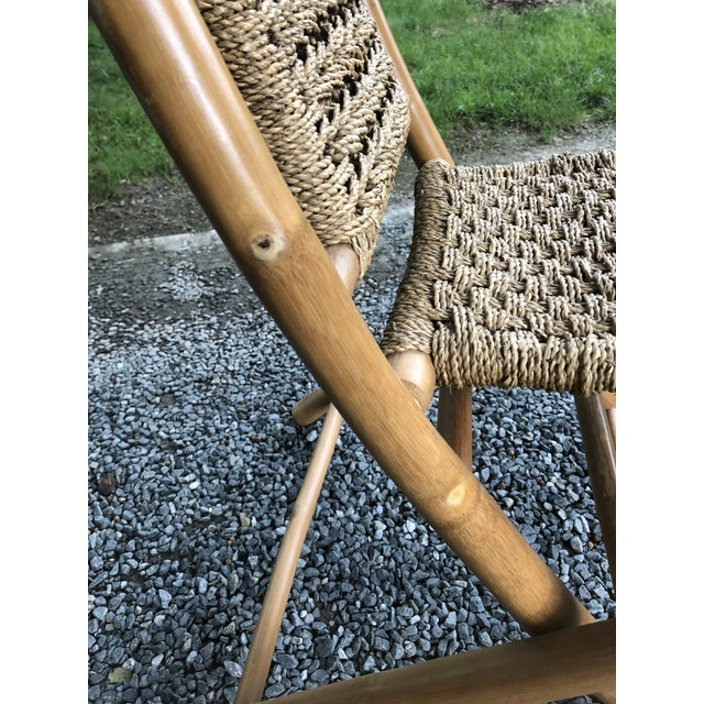 Mid-Century Modern Hans Wagner Style Bamboo Rope Folding Lounge Chairs - a Pair For Sale - Image 10 of 13