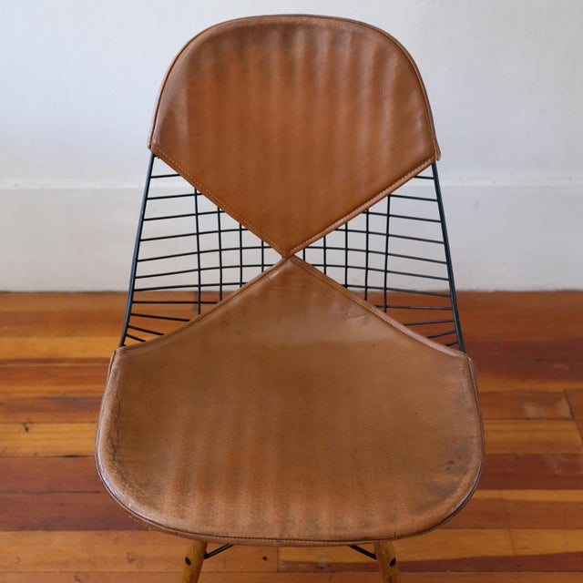 Metal Eames Dkw-2 Dowel Wire Chair With Leather Bikini Cover For Sale - Image 7 of 13