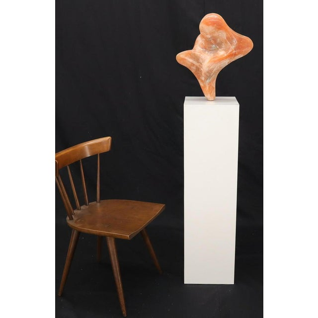 Orange Abstract Carved Onyx Bust Sculpture on Tall Pedestal For Sale - Image 8 of 9