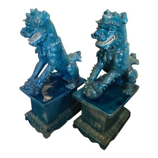 Chinese Foo Dogs and Stands - a Pair For Sale