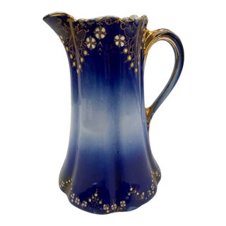 1920s French Flow Blue Scalloped Pitcher For Sale