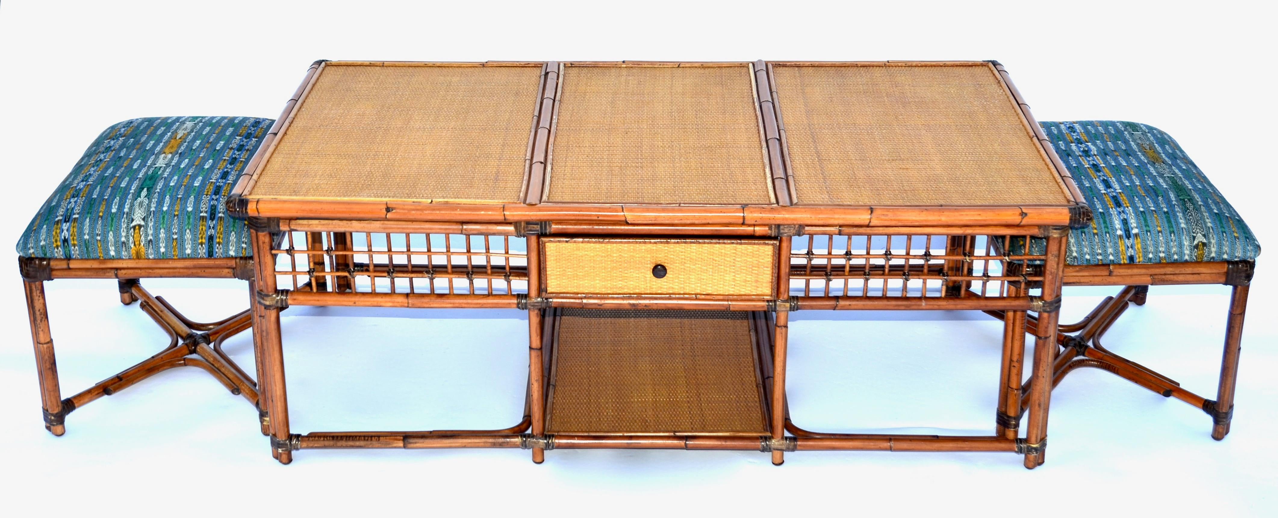 Vintage Palecek SF Rattan Bamboo Coffee Table With Hidden Stools   Image 4  Of 8