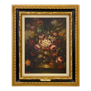 Vintage Chelsea House Floral Oil Painting For Sale
