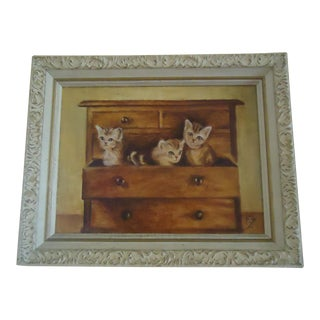 """Vintage """"Cats in the Dresser"""" Oil Painting on Canvas in Wood Gesso Original Frame For Sale"""