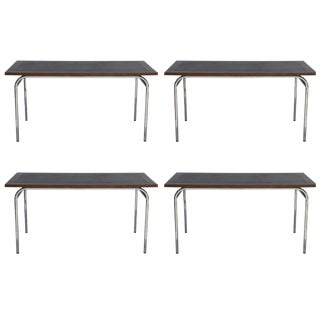 Set of Four French Modernist Rectangular Chrome and Mahogany Tables For Sale