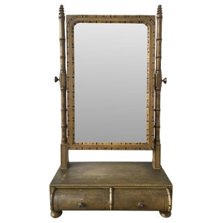 19th C. English Faux Bamboo Painted Shaving Mirror