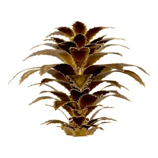 Maison Jansen Attributed Gilt Metal Sconce With Torch Cut Leaves For Sale