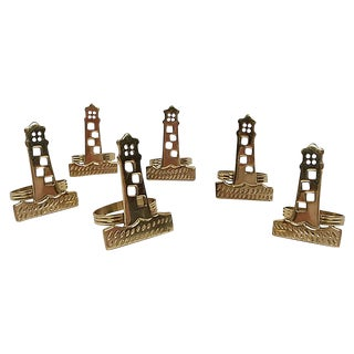 Brass Lighthouse Napkin Rings, S/6 For Sale